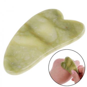 Пластина - скребок для массажа Гуаша в форме сердца, нефрит